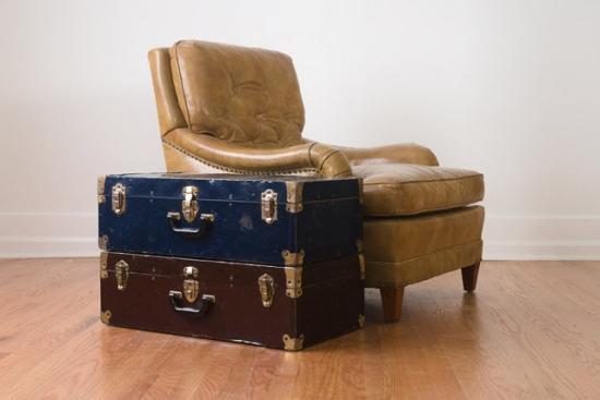 Vintage Metal Suitcase Side Table