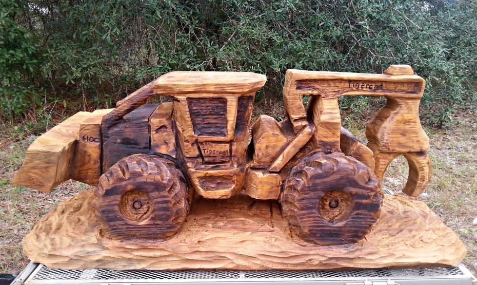 Wood Art Bulldozer Sculpture