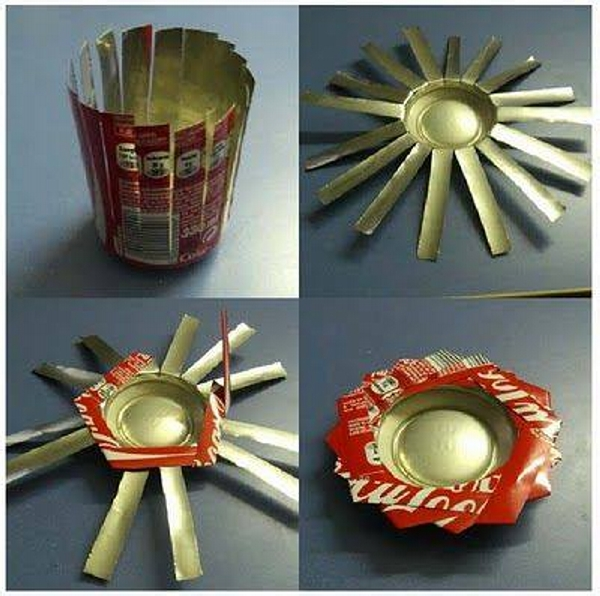 Aluminum cans recycled upcycle art for Recycled decoration