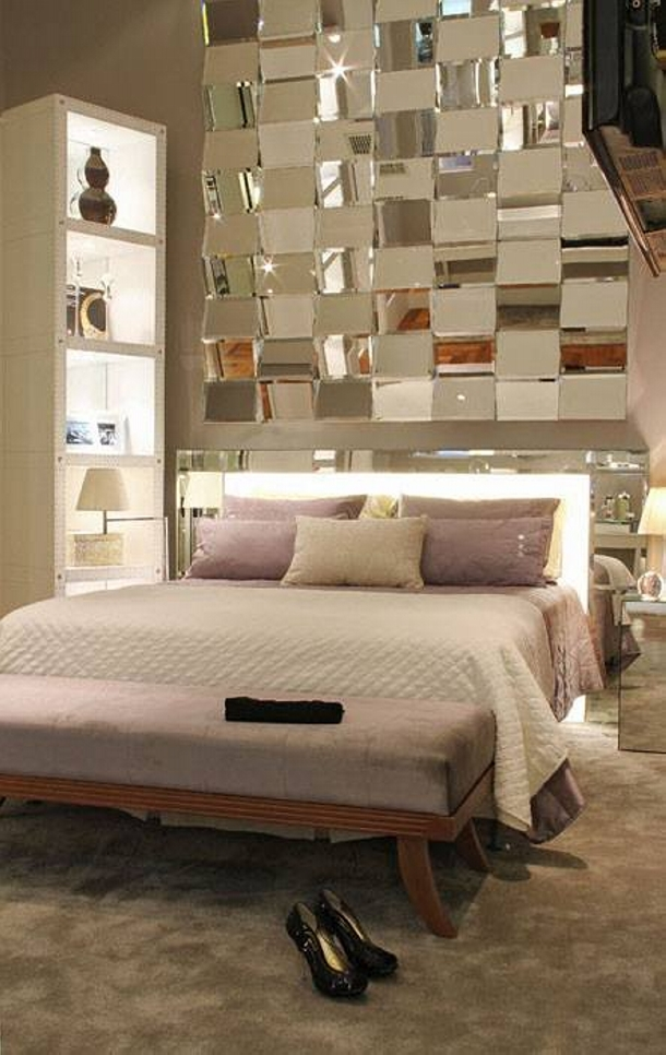 Bed Headboard Decor with Mirrors