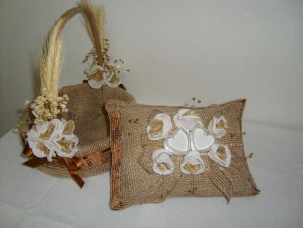 Burlap Upcycled Cushion and Basket