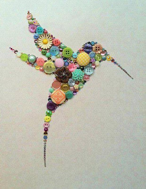 Buttons Bird Art