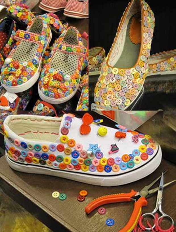 Buttons Decorated Shoes