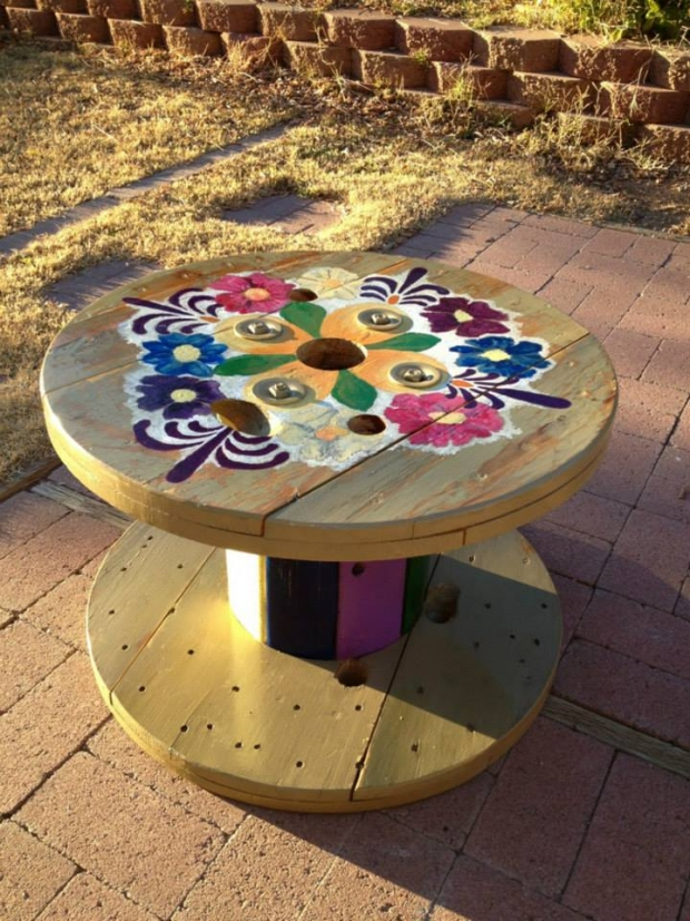 Cable Reel Upcycled Table