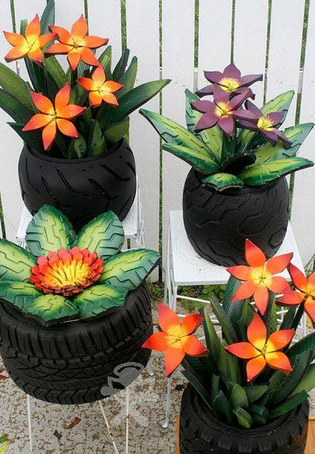Garden decor ideas with car rims and tyres upcycle art - Painted tires for flowers ...