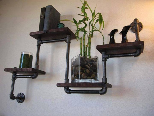 PVC Pipe Recycled Wall Shelves