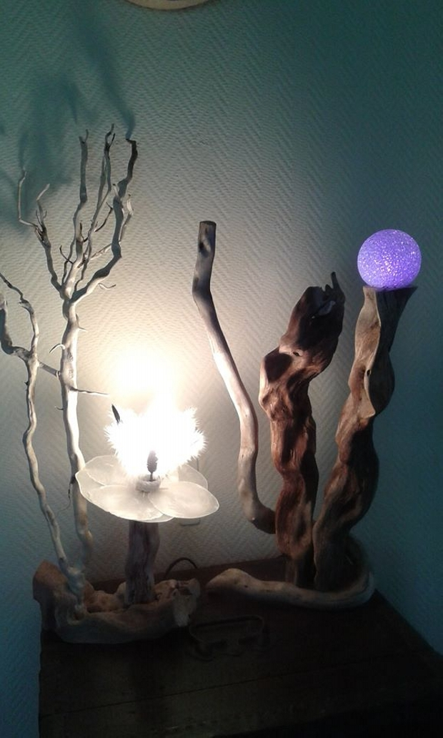 Recycled Driftwood Lamp Art