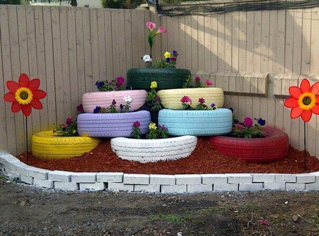 Recycled Tyres Garden Decor