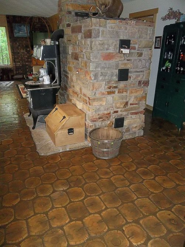 Repurposed Cordwood Flooring