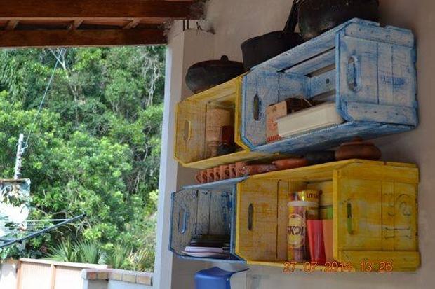Reused Wood Crates Shelves
