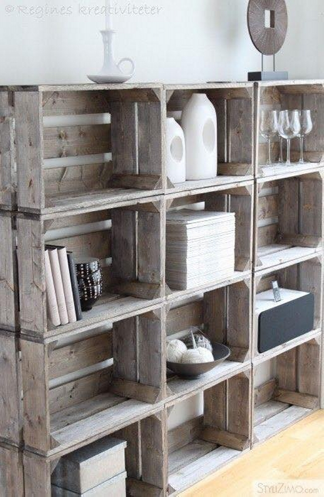 Shelving Ideas with Wooden Boxes