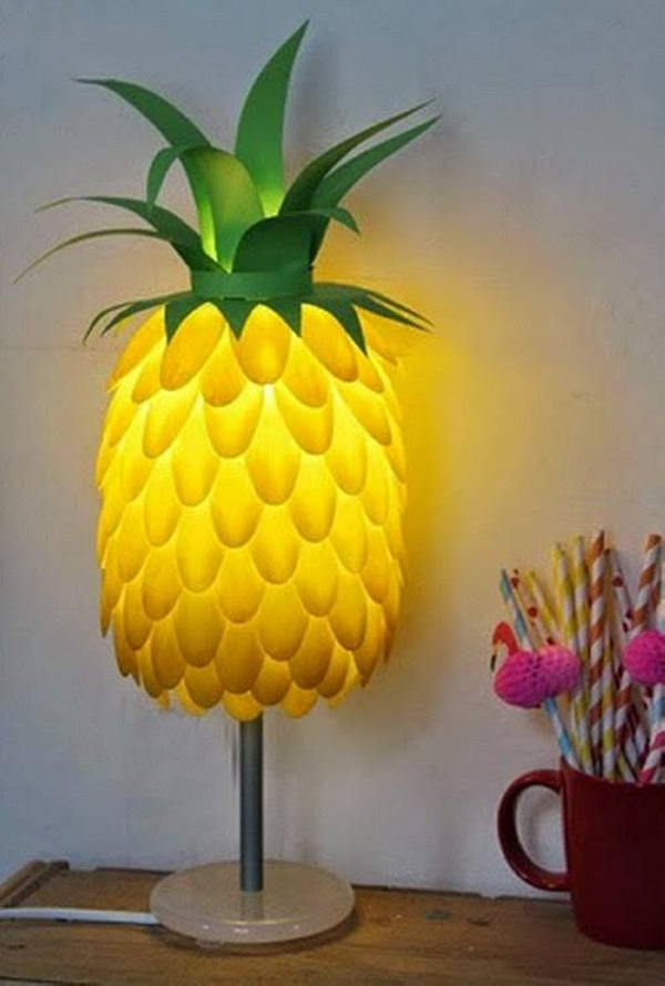 Upcycled Plastic Spoons Lamp