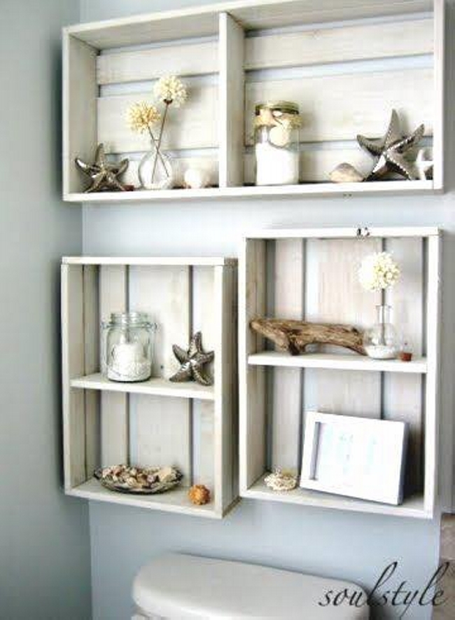 Wall Shelves with Wooden Fruit Boxes