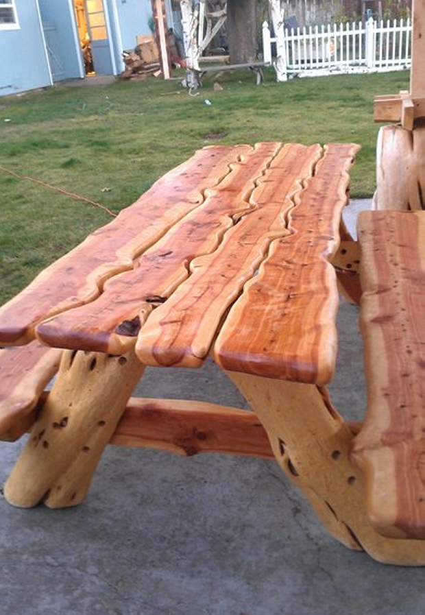 Wood Carved Patio Picnic Table