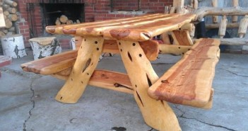 Wood Carved Picnic Table