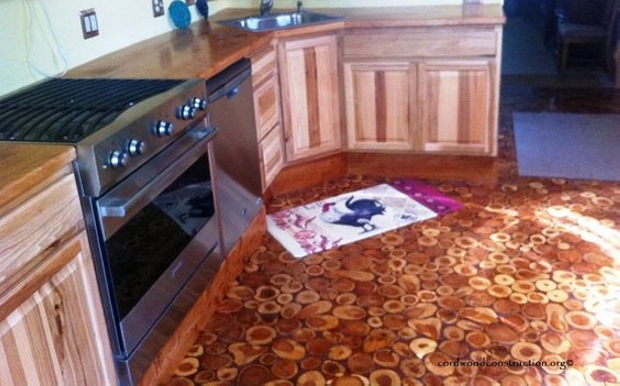 hand-made cordwood floor