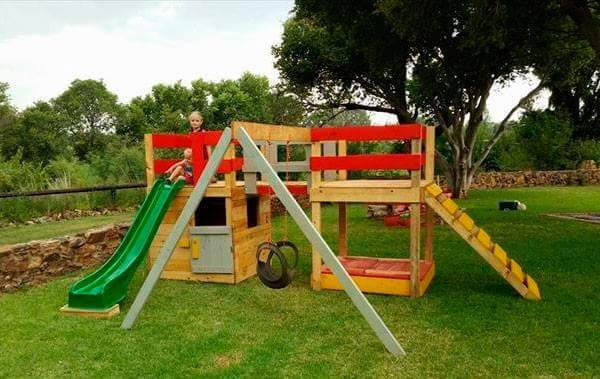 kids playland with pallets wood