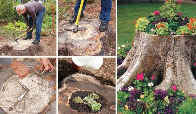 log upcycled planters