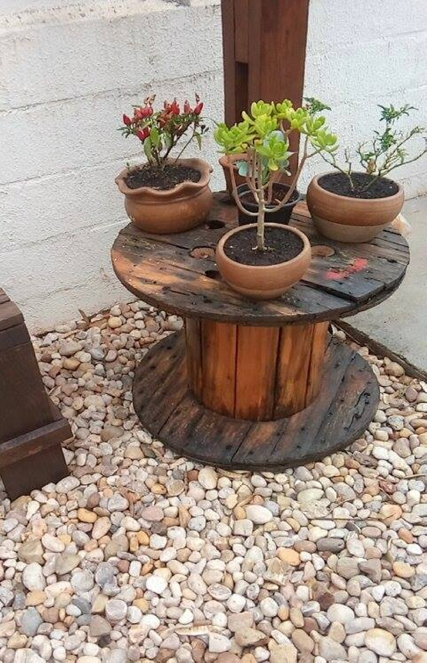pallet cable reel recycled planter