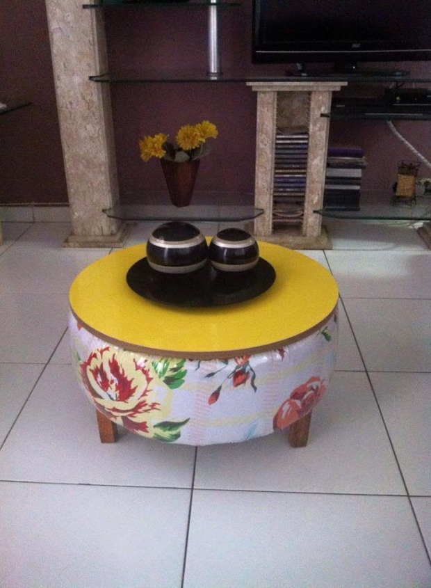 upcycled used tires table