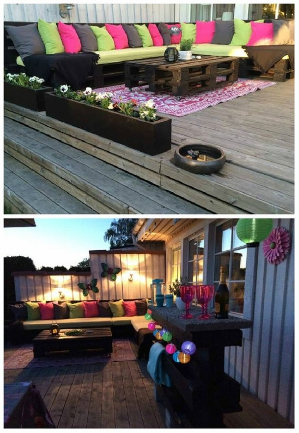 Decorated Patio Deck Pallet Couch