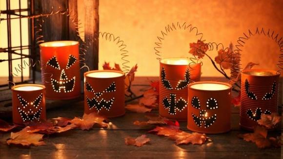 Halloween Tin Can Lanterns