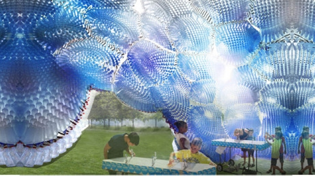 Pet Bottles Cloud Sculpture