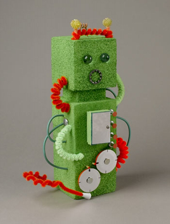 Styrofoam Green Robot