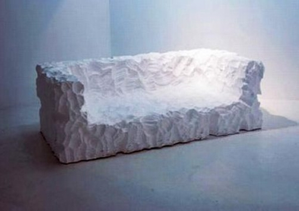 Styrofoam couch sculpture