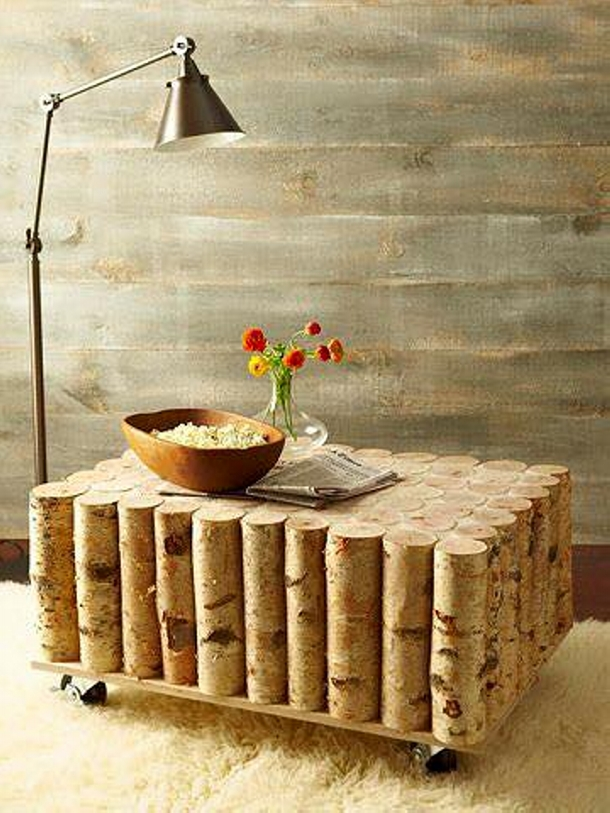 cordwood recycled table