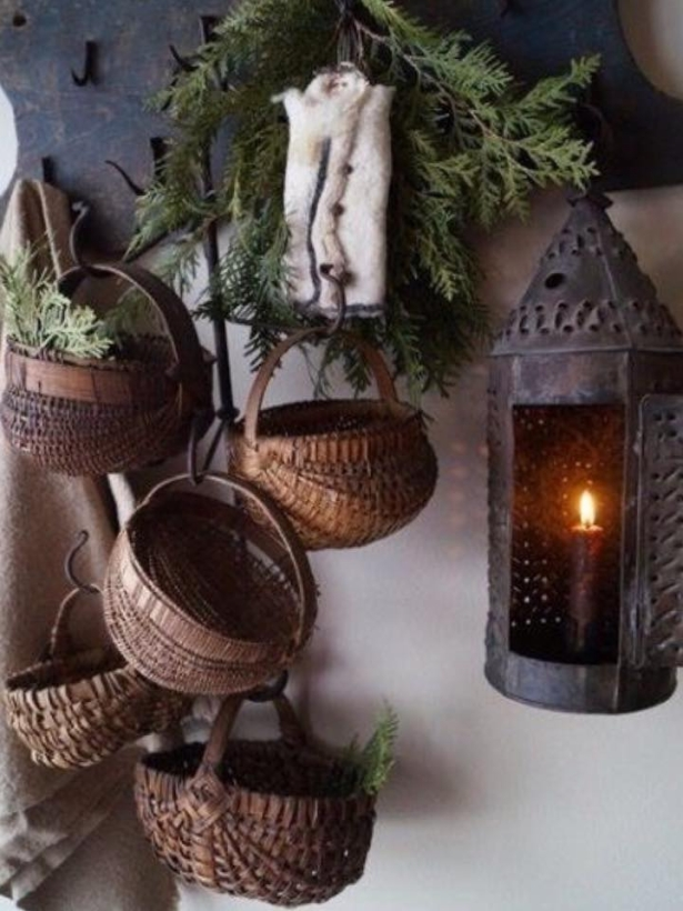 garden decor with baskets