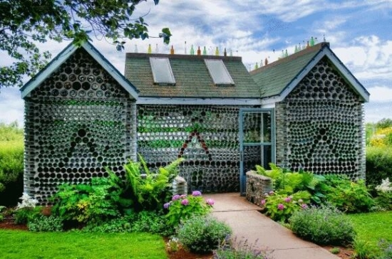 house from recycled bottles