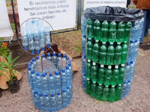 plastic bottles trash can
