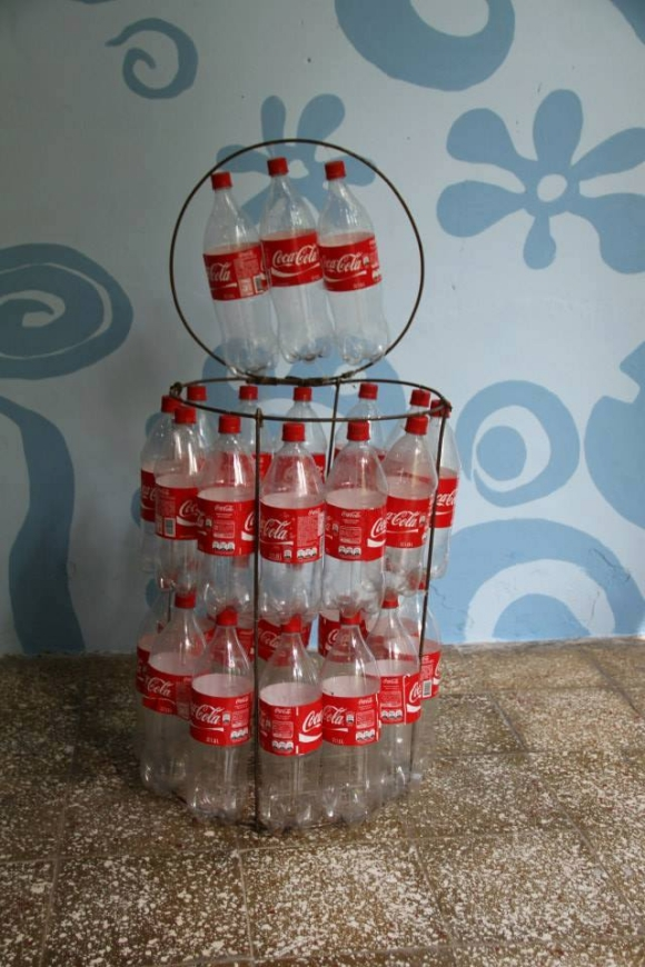 Recyclable Trash Cans With Plastic Bottles Upcycle Art