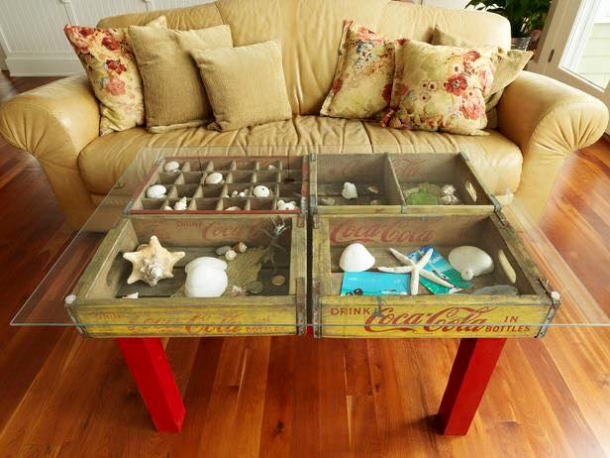 recycled bottle crates table