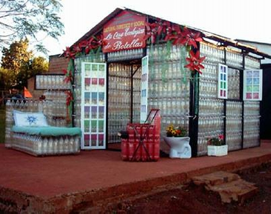 recycled bottles shed