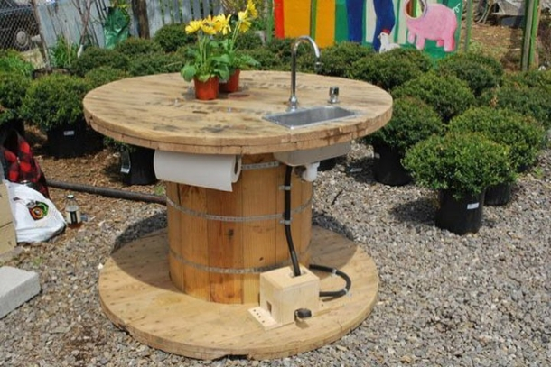 recycled pallet cable reel sink