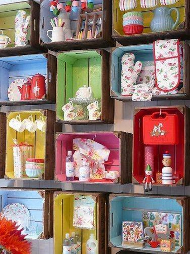 Shelves Decoration with Boxes of