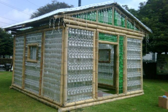 shed with recycled bottles