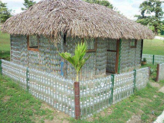 upcycled bottles house