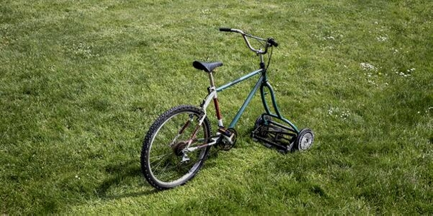 upcycled lawn mowing bike