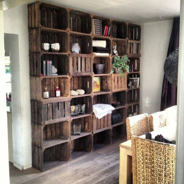 wall shelves with fruit boxes