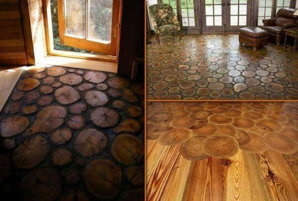 wood log flooring