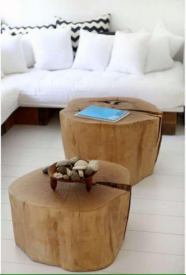 wood log recycled tables