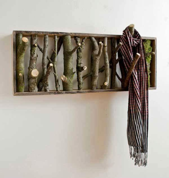 wood sticks coat hanger