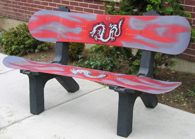 Bench Made with Snowboards