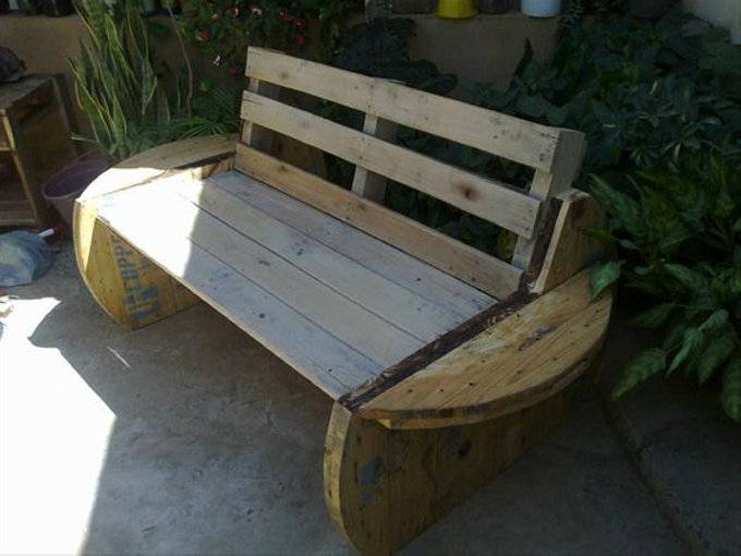 Cable Spool Garden Bench