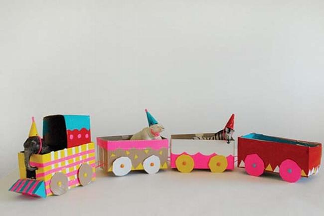 Cardboard Train for Kids
