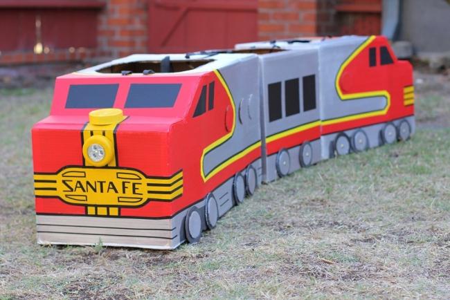 Cardboard Upcycled Train