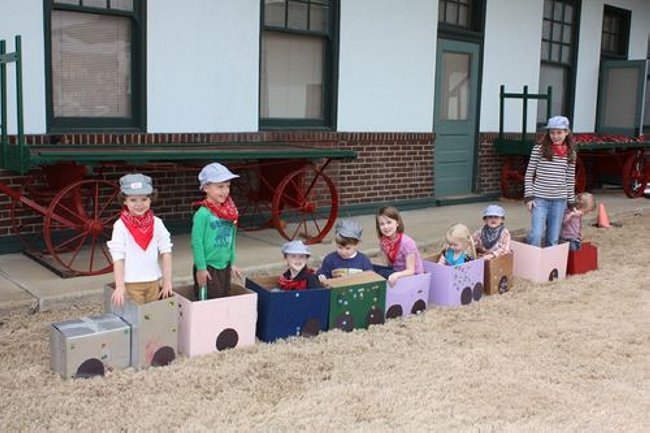 Cardboard box train